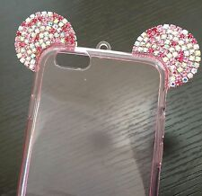 For iPhone 6 / 6S - TPU RUBBER CASE COVER PINK DIAMOND BLING MINNIE MOUSE EARS