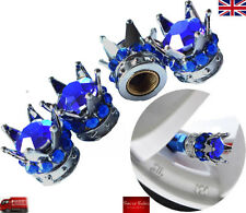 Silver Crown Bleu Pierre Diamant voiture pneu de pneu Dust Caps Covers Set 4