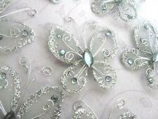 "20 Wire Glitter Butterfly 2"" Decoration/wedding/corsage/flower/bow L8-Big-Silver"
