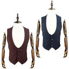 Mens Cavani Designer Scoop Waistcoat Tweed Smart Suit Formal Casual New