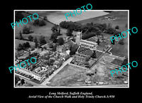 OLD POSTCARD SIZE PHOTO LONG MELFORD SUFFOLK ENGLAND VIEW OF THE CHURCH c1950