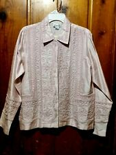 """NWT $158 Coldwater Creek Women's Sz Med Pink 100% Silk Jacket embroider 42"""" bust"""