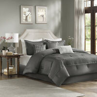 BEAUTIFUL MODERN CONTEMPORARY ELEGANT CHIC GREY TEXTURED COMFORTER & PILLOW SET