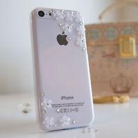 3D Flower Luxury Bling Gem Diamond Crystal Case Cover For iPhone 4 5s SE 6 Plus