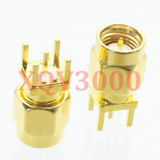 10pcs Connector Sma male plug pin solder Pcb mount straight Rf Coaxial