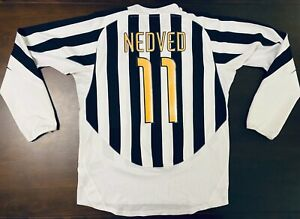 2003-2004 Juventus Long Sleeve Ballon d'Or Home Jersey – Pavel Nedved - Large