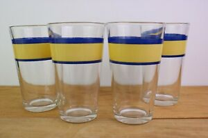 """Gibson Everyday China Tavernware Yellow 4 Glass Tumblers Blue Bands 5.75 """" 16 oz"""