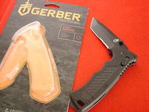 """Gerber Knives 4-7/8"""" D.M.F. Side Lock Tanto Blade G10 Knife MINT"""