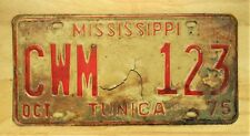 1975 MISSISSIPP TUNICA   LICENSE PLATE AUTO CAR VEHICLE TAG #1268