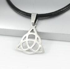 Silver Chrome Triangle Irish Celtic Trinity Knot Pendant Black Leather Necklace