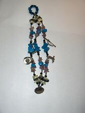 Vintage Artisan Turquoise 3 Strand Charm Bracelet Silver Jewelry NICE