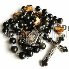 XL 10MM GOLD Black Obsidian BEADS catholic ROSARY crucifix CROSS NECKLACE GIFTS