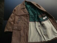 CLAXTON MEN SOFT BROWN SUEDE LEATHER DESIGNER FULL BUTTON JACKET SIZE: LARGE