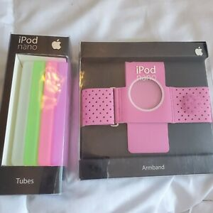 Apple ipod nano pink armband and 4 ipod nano covers purple pink green clear