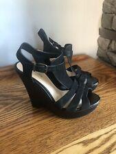 Gianni Bini Black Leather Wedges 7.5