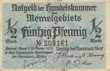 Notgeldschein der Handelskammer Memel von 1922 über 1/2  Mark in Erh. III