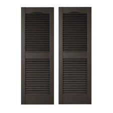Louvered Vinyl Exterior Shutters Window Treatments 15 x 55 in. 002 Black 1 Pair