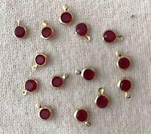 Swarovski Crystal Ruby/Gold Small Pendants! 14 Count