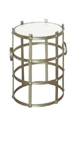 Scratch & Dent Belvedere Champagne Metallic Finish And Marble Accent Table