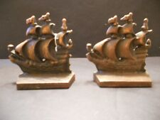 Vintage Solid castmetal A Galleon in the Time of Elizabeth England Bookends Ship