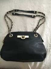 DKNY LOCK BLACK LEATHER CHAIN STRAP SHOULDER/CROSSBODY BAG