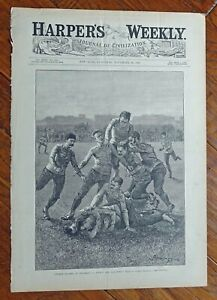 1887 Harper's Weekly College Football Cover Lithograph By Frederic Remington.