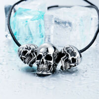 NEW Retro Mens Womens Stainless Steel Punk Skull Pendant For Chain Necklace