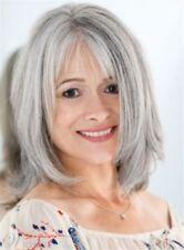 Fashion Medium Bob Straight Capless Synthetic Silver Gray Hair Wig