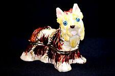 Enamel Trinket Jewelry Box Golden Dog Terrier Vintage Rhinestones
