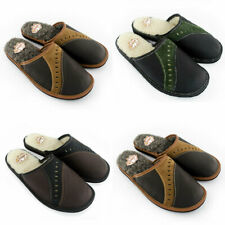 Men's Leather / Wool Slippers Shoes, Hand Made, Size 7 8 9 10 11 12 13