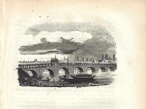 Stampa antica PAVIA veduta con il PONTE COPERTO 1858 Antique print