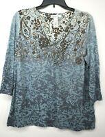 Liz Claiborne Womens Blue Floral Print V Neck Long Sleeve Casual T-Shirt Sz XL
