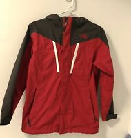 North Face Hyvent Hooded Shell Jacket Coat Boys Sz L 14/16 Red Black EUC