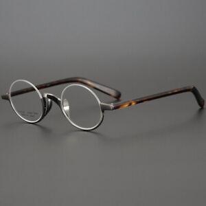 Vintage Small Round Luxury Glasses Frame Titanium Ultralight Handmade Spectacles