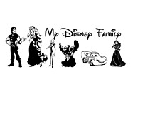 """My Disney Family picture decal sticker 9"""" white"""