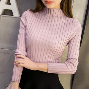Korean Sweater Autumn Winter Women Turtleneck Slim Knitted Solid Blouse Pullo.WO