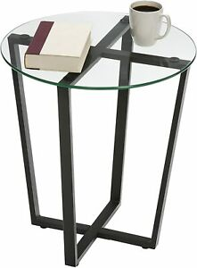Modern Side Table Retro Round Furniture Rustic Metal Lamp Sofa End Plant Stand