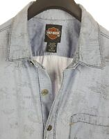 HARLEY-DAVIDSON Mens Blue Blueprint Sketch S/S Button Down Shirt Medium M Cotton