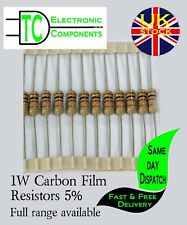 1W Carbon Film Resistors  Full range available (10 pack) 0.33R-2.2M  Free P&P