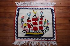 Hand Woven Ship Rug From Athens Small