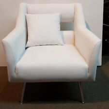 Modern Occasional White Metal Polished Armchair