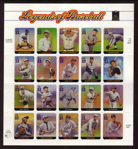 US #3408 Legends of Baseball 33 Cents Complete Sheet of 20 Mint Never Hinged