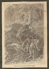 VINTAGE ILLUSTRATION -  KILLING AN INDIAN SCOUT IN OHIO VALLEY