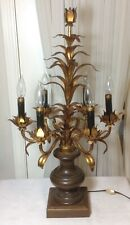 New listing Antique Italian 6-Arm Metal Tole Gilt Leaves Table Lamp