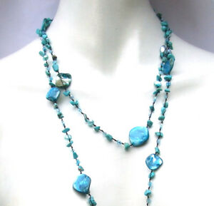 BLUE TURQUOISE MERMAID Türkis Perlen Perlmutt Kette 150 cm geknotet 1,2,3-fach