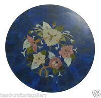 """30"""" Blue Marble Coffee Corner Table Lapis Lazuli Marquetry Inlay Home Deco H2039"""