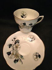 Rosina English Bone China Cup & Saucer, White Apple Blossoms! Gold Trim