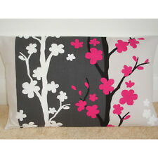 "18""x12"" Oblong Bolster Cushion Cover Fuschia Black Grey White Fuchsia Pink 12x18"