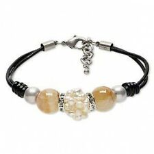 Double-strand Leather Bracelet with Crackle Agate and Cultured Freshwater Pearl