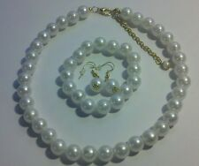 """Pearl Necklace Jewelry New White Round 10mm 16-20"""" Bracelet Earrings Wedding"""